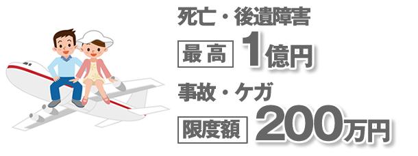 死亡・後遺障害1億円。事故・ケガ200万円