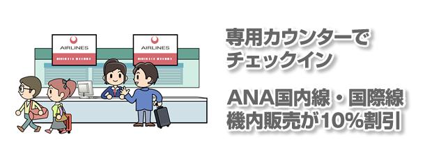 専用カウンターでチェックイン。ANA国内線・国際線飛行機内販売が10%割引き