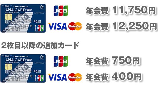 ブランド別の年会費、追加カード年会費
